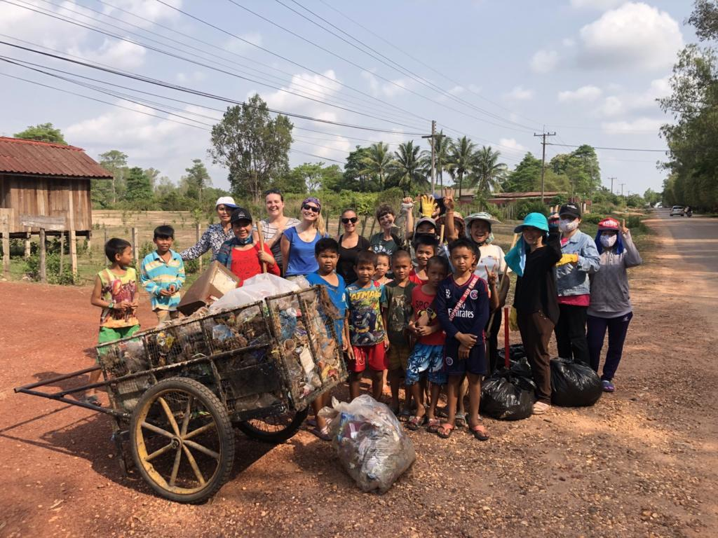 LCTW staff and volunteers pick up litter in the village
